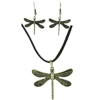 Silver Fever® Dragonfly on Leather Set Filigree Gold