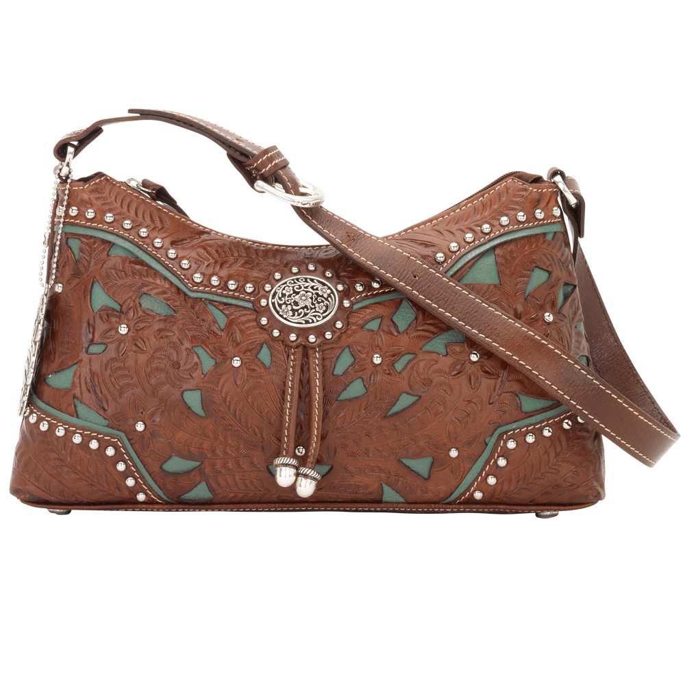 6b710fe575e8 American West Leather Zip Top Shoulder Hobo Handbag Lady Lace Brown