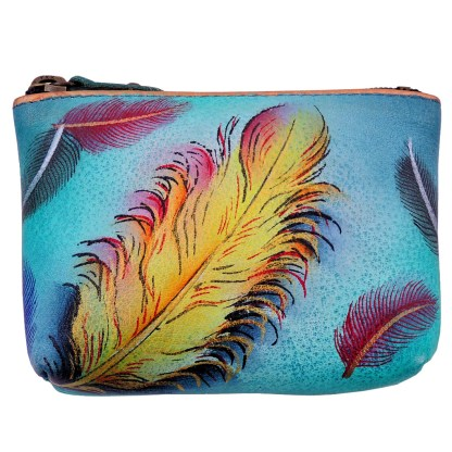 Anuschka Genuine Leather Coin Zip-Up Pouch Hand Painted Floating Feathers