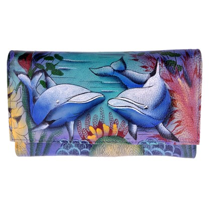 Anuschka Checkbook Wallet Hand Painted Dolphin World