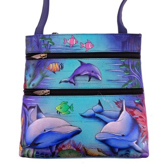 Anuschka Small Travel Cross Body Handbag Dolphin World