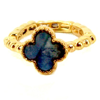 Lucky 4 Leaf Clover Gold Plated Abalone Stretch Adj Fashion Ring