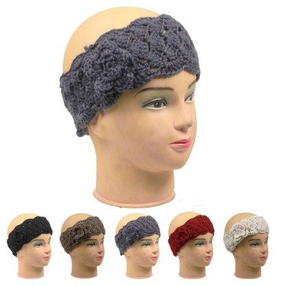 Silver Fever Braided Crochet Headband Hair band Head wrap Earmuff with Flower