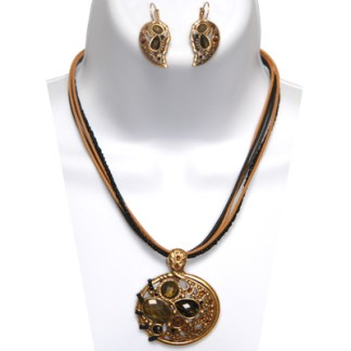 Black & Brown Tiger's Eye Necklace Set Antiqued Gold