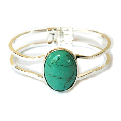 Open Silver Bangle Bracelet Oval Genuine Turquoise