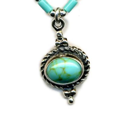 Genuine Turquoise Handcrafted Silver Necklace Oval