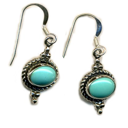 Handcrafted Genuine Turquoise Sterling Silver Earrings East West Oval
