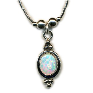 "OPAL Sterling Silver NECKLACE 16"" Liquid Silver Handmade"