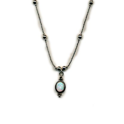"""OPAL Sterling Silver NECKLACE 16"""" Liquid Silver Handmade"""