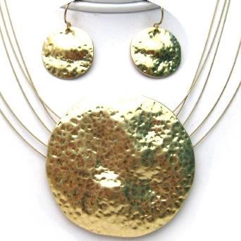 Hammered Gold Plated Shield Pendant 5 Wire Necklace Set