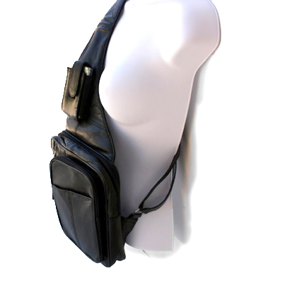 Genuine Leather Black Sling Messenger Backpack Organizer