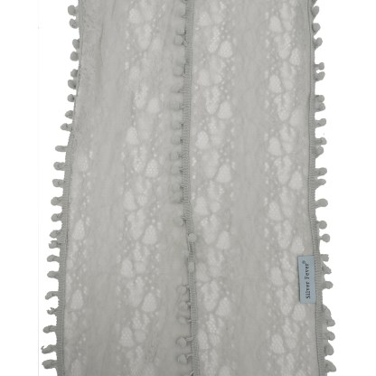Silver Fever Elegant Skinny Lace Scarf with Pompoms