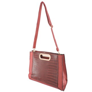 Silver Fever® Classic Cluch Shoulder Cross Body Bag Handbag Burgundy