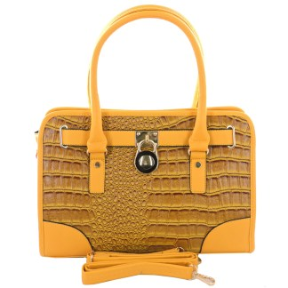 Silver Fever® Belted CrockTote Handbag with Lock Cobalt  Mustard Yellow