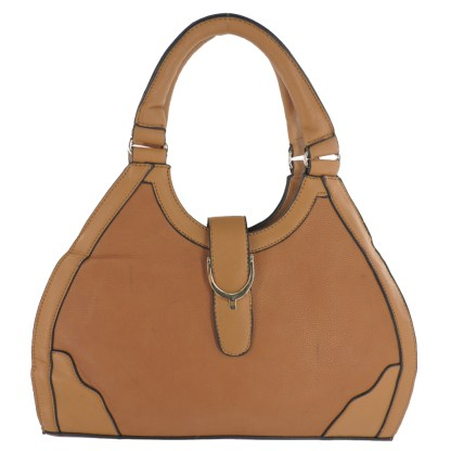 Silver Fever® Classic Satchel Gold Detail Handbag Tan