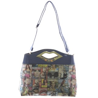 Silver Fever® Novelty Print Fashion Clutch Shoulder Bag Multicolor & Blue