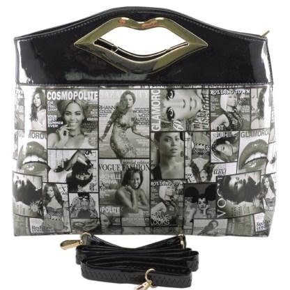 Silver Fever® Novelty Print Fashion Clutch Shoulder Bag Black White & Black