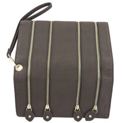 Silver Fever 4-Zip Wristlet Wallet Clutch Bag Coffee