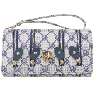 Fashion Signature Print Wristlet Wallet Clutch Bag Navy