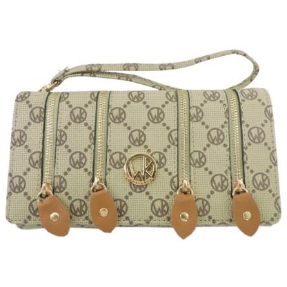 Fashion Signature Print Wristlet Wallet Clutch Bag Beige