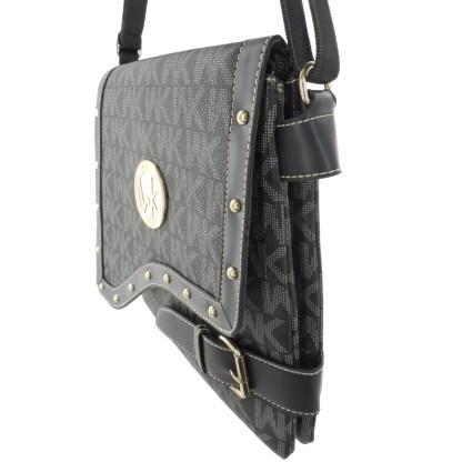 Large Tablet Messenger Cross Body Bag Assimetrical Flap Black