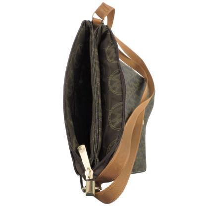 Large Tablet Messenger Cross Body Bag Assimetrical Flap White Beige