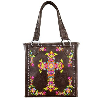 Montana West Western Collection Tall Tote  Handbag Coffee  w Cross Embroidery