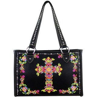 Montana West Western Collection Wide Tote  Handbag Black w Cross Embroidery