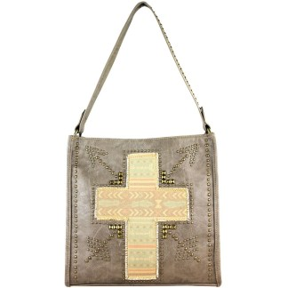 Montana West Spiritual Bling Collection ,Khaki w Vintage Cross