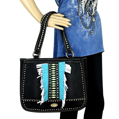 Montana West Western Collection Tall Tote Handbag Turquoise with Fringe