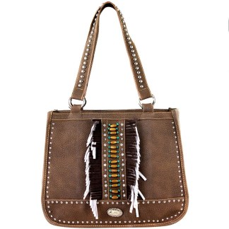 Montana West Western Collection Tall Tote  Handbag Coffee with Fringe