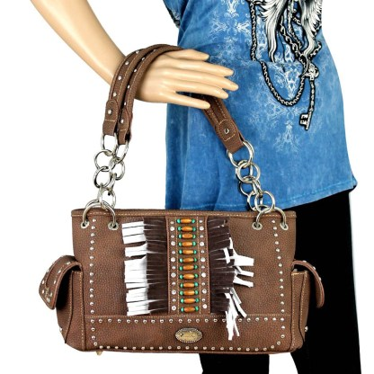 Montana West Western Collection Concealed Gun Satchel Hanbag Coral with Fringe
