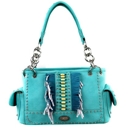 Montana West Western Collection Concealed Gun Satchel Hanbag Turquoise with Fringe