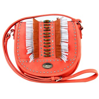 Montana West Western Collection Cross Body Shoulder Bag Coral  with Fringe