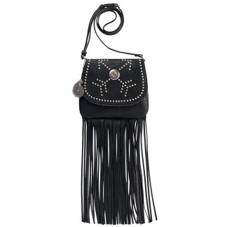 American West Bandana Austin Fringe Crossbody Bag Crossing Arrows Black