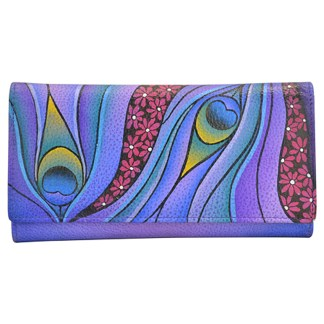 Anna by Anuschka Ladies Wallet Checkbook Dreamy Peacock