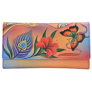 Anna by Anuschka Ladies Wallet Checkbook Peacock Butterfly