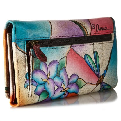 Anna by Anuschka Ladies Wallet Multi Pocket Dragonfly Glass Painting