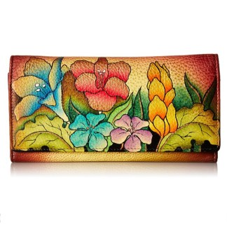 Anna by Anuschka Ladies Wallet Multi Pocket Mediterranean Garden