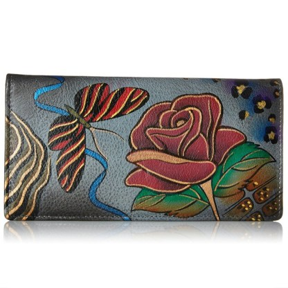 Anna by Anuschka Ladies Wallet 2 Fold 3 ID Rose Safari Gray