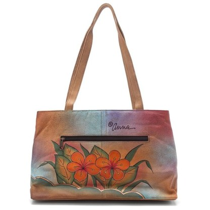 Anna by Anuschka Tote Handbag Ex Large Shopper Floral Butterfly