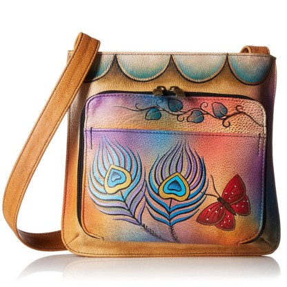Anna by Anuschka Travel Organiser Crossbody Twin Zip Peacock Butterfly