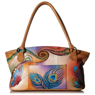 Anna by Anuschka Tote Handbag Wide Peacock Butterfly