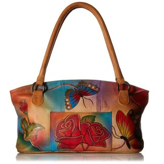 Anna by Anuschka Tote Handbag Wide Rose Butterfly