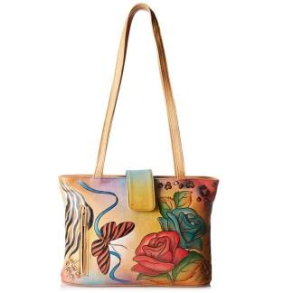 Anna by Anuschka Tote Handbag Shoulder Rose Safari