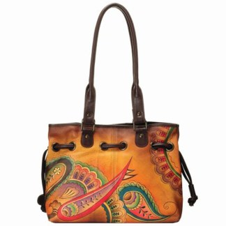 Anna by Anuschka Tote Handbag Drawstring Royal Paisley