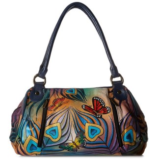 Anna by Anuschka Satchel Hanbdag Ruched Flying Peacock