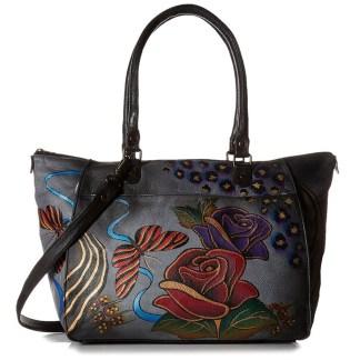 Anna by Anuschka Tote Handbag Large Shopper Rose Safari Gray