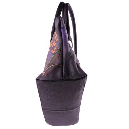 Anna by Anuschka Tote Handbag Zip Top Bird on Brunch Gray