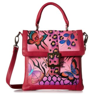 Anna by Anuschka Satchel Hanbdag Saddle Animal butterfly Pink